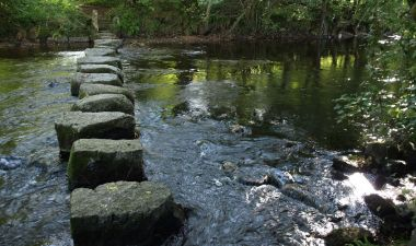 Stepping stones across the Teign near Dunsford