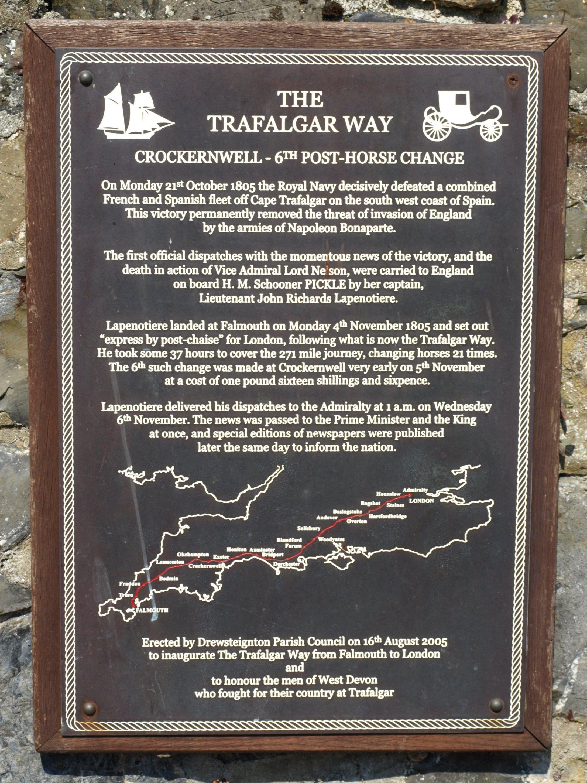 Trafalgar Way plaque, Crockernwell